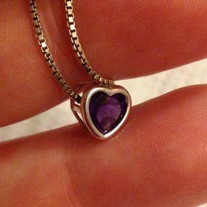 Jewelry - 6mm Amethyst Heart Slider Pendant